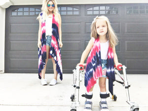 READY TO SHIP Red, White & Blue Tie-Dye Cape