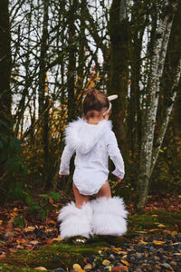 XMAS ORDERS CLOSED Fur-Trimmed Hooded Velvet Leotard SHIMMERING WHITE