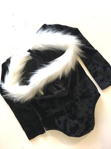 Fur-trimmed Hooded Velvet Leotard BLACK (XMAS ORDERS CLOSED)