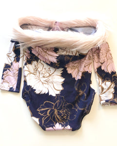 Fur-trimmed Hooded Bold Floral Leotard