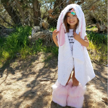 READY TO SHIP Fur Hooded Bunny Cape WHITE
