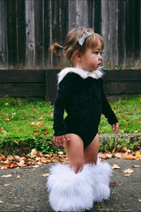 Fur-trimmed Hooded Velvet Leotard BLACK