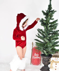 Santa Baby Fur-Trimmed Hooded Leotard