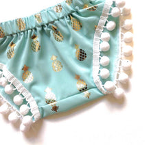 Mint Gold Pineapple Pom Shorties