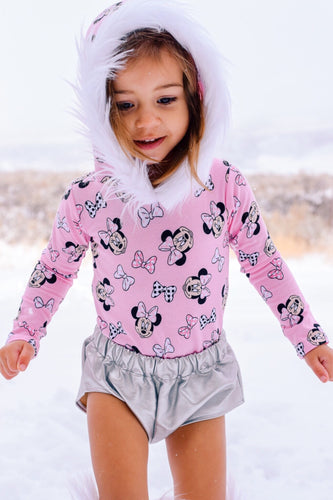 Princess Pink Minnie Mouse Fur-trimmed Hooded Leotard