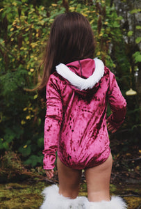 Fur-trimmed Hooded Velvet Leotard Burgundy