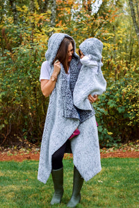 Fuzzy Wubby Black Hooded Sherpa Cape