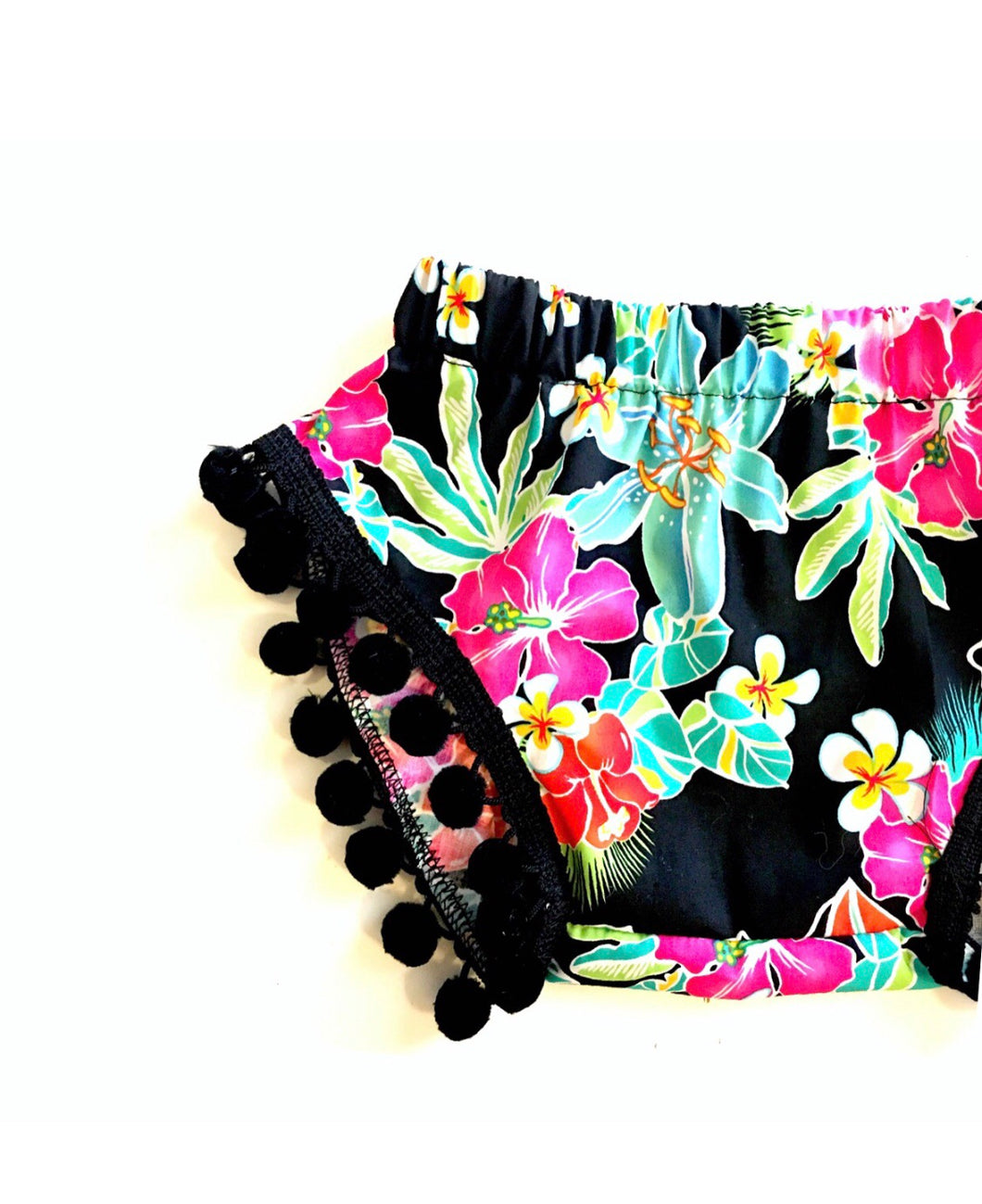 Tropical Floral Pom Shorties
