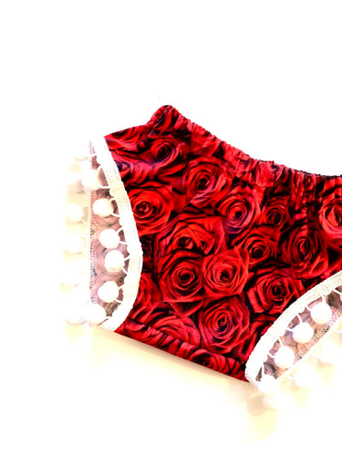 READY TO SHIP Rose Pom Shorties RED