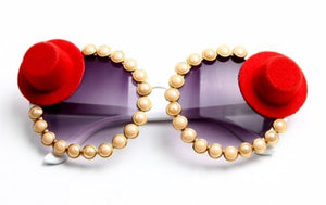 RED HAT SOCIETY VINTAGE GOLD PEARL SUNGLASSES