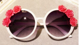 HIPPY ROUND WHITE SUNGLASSES W/ 3 PINK ROSE EMBELLISHMENTS