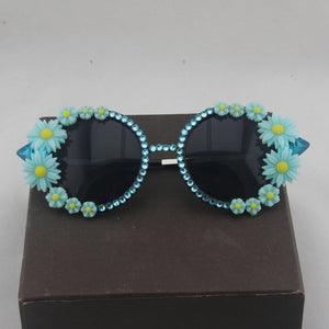 Daisy Flower Crystal Sunglasses Retro