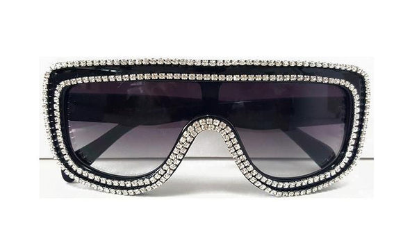 Hip Hop Ready Black & Crystal Embellished Shield Sunglasses ***2 OPTIONS*** - Wild Child Shades