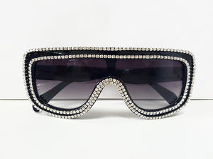 Hip Hop Ready Black & Crystal Embellished Shield Sunglasses ***2 OPTIONS***