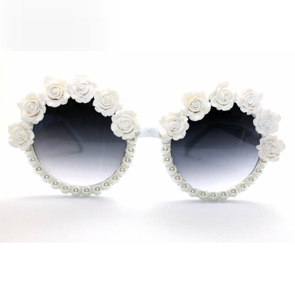 Coachella ROSE Flower w/ Pearl Sunglasses