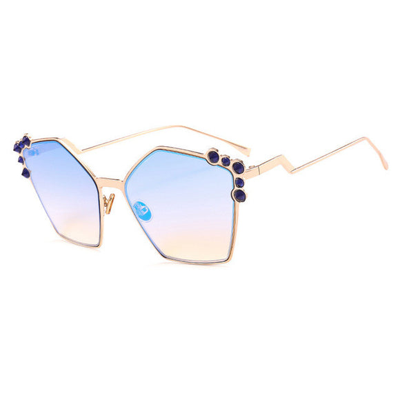 Octagon Shaped Gradient Sunglasses Embellished Corner ***MORE COLORS***