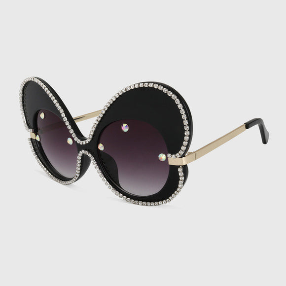 Oversized 60's Butterfly Bling Sunglasses - Wild Child Shades