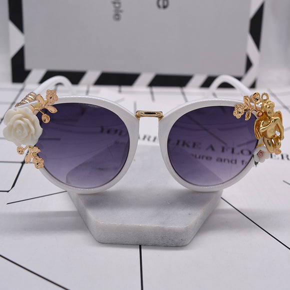 White Rose & Gold Angel Embellished Sunglasses