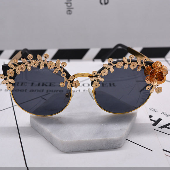 Black & Gold Embellished Goddess Sunglasses