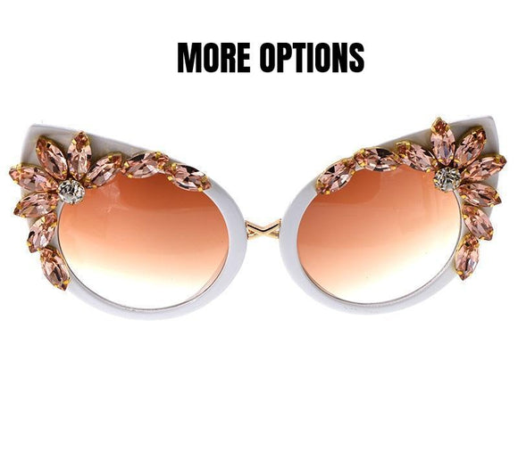 ROSE, FLORAL, CRYSTAL EMBELLISHED Cat Eye Crystal Sunglasses
