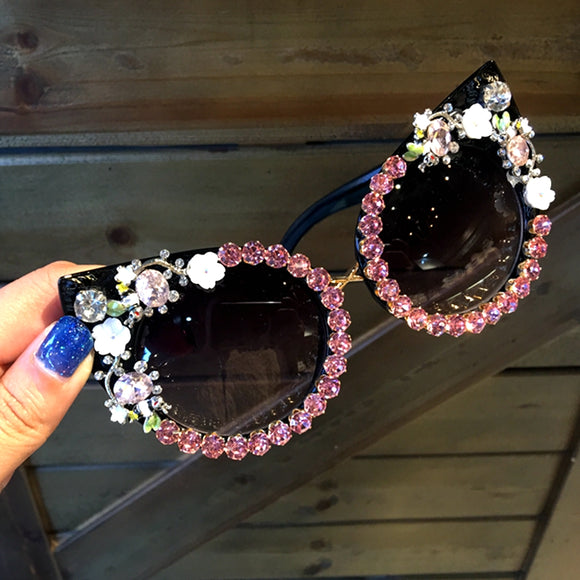 Pink Crystals & Floral on Black Cat Eye Frame