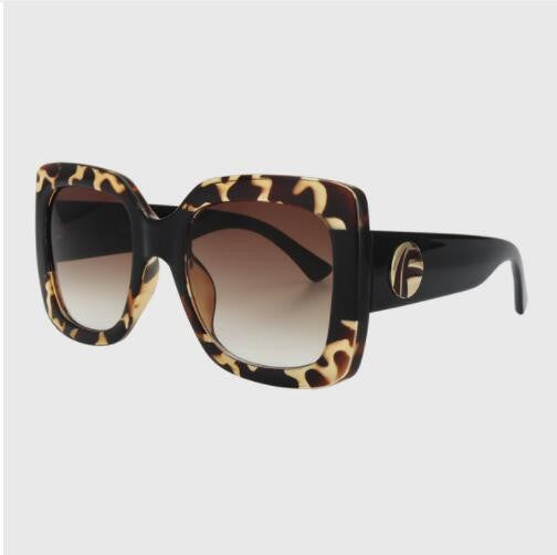 Vintage Oversized  Cheetah Print Square Sunglasses - Wild Child Shades