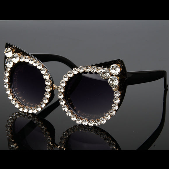 Luxury Rhinestone Sexy Cat Eyes Sunglasses - Wild Child Shades