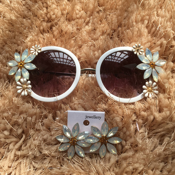 White Round Light Blue Floral Embellished Festival Sunglasses - Wild Child Shades