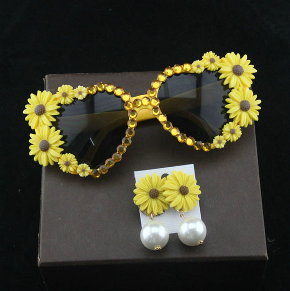 Heart Shaped Sunflower Embellished Sunglasses - Wild Child Shades