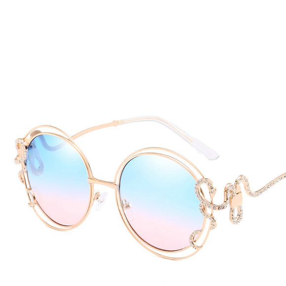 Elegant Gold Crystal Swirl Snake Round Retro Sunglasses ***MORE OPTIONS*** - Wild Child Shades