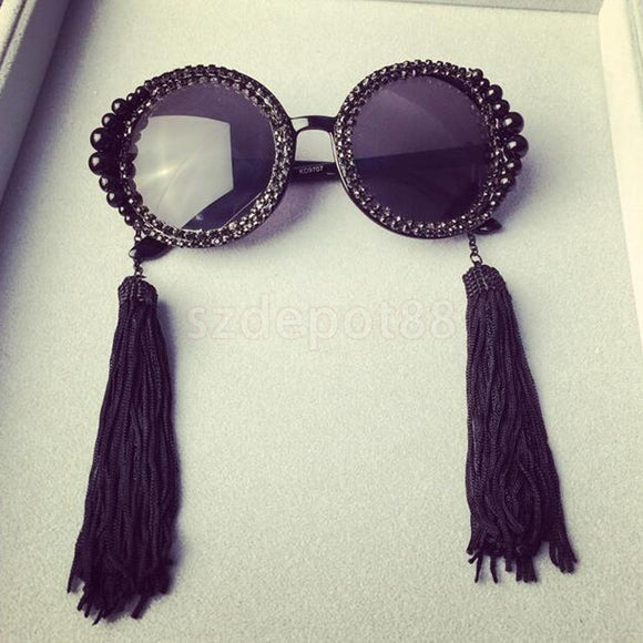Tassel Black Pearl Crystal Retro Luxury Sunglasses