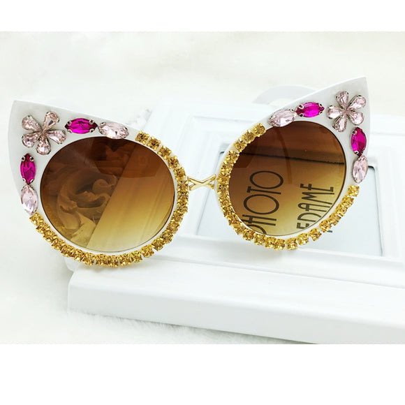 Pink, White & Gold Crystal Embellished Cat Eye Sunglasses