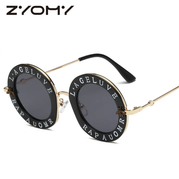 Unisex Womans Mens Alloy French writing  Retro Round Sunglasses English Letters ***MORE OPTIONS*** - Wild Child Shades