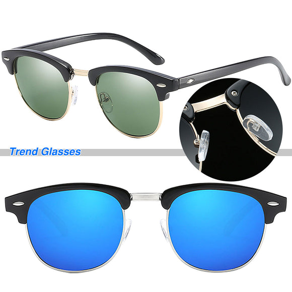 Mens Polarized Mirrored Half-rimless Sunglasses (BLUE, Black, Brown & MORE) ***MORE OPTIONS*** - Wild Child Shades