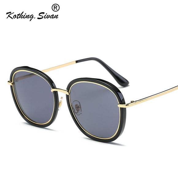 Oversized Mens Unisex Gold trim Hip Trendy Rap Urban Sunglasses Unisex Womans Mens Alloy French writing  Retro Round Sunglasses English Letters ***MORE OPTIONS*** - Wild Child Shades
