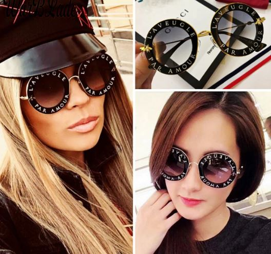Designer French writing Retro Vintage Round Sunglasses ***MORE OPTIONS*** - Wild Child Shades
