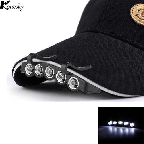 Konesky Clip-On 5 LED Headlamp Lights Hands-free Cap Hat Clip Headlight Flash / Steady ON