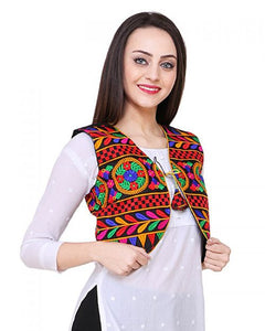 Embroidered Short Ethnic Cotton Jacket