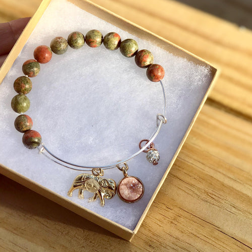 Healing Unakite Beaded 14K Gold plated Elephant Bangle Bracelet With Druzy Charm