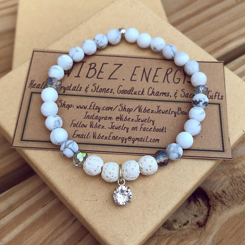 Healing & Diffuser - White Howlite Swarovski Bracelet - Calming, Sleep Aid, Stress Relief. Stretch adjustable beaded bracelet