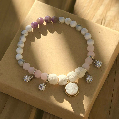 Heart & Mind Balancing White Diffuser Bracelet- Healing: Amethyst, Rose Quartz, and Howlite Druzy Rhinestone Charm Beaded Stretch