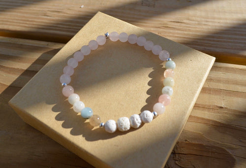 Relationships: Attract & Maintain Love - Morganite and Rose Quartz Diffuser White Lava Rock Bracelet