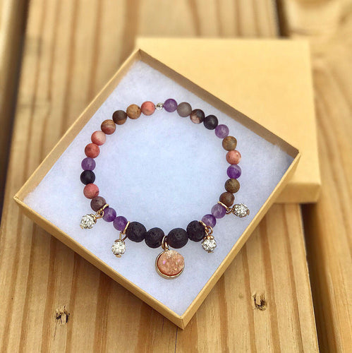 Healing Heart Bracelet-Heart Charka, Third Eye, and Crown Chakra, Aroma Diffuser Charm Bracelet: Authentic Rhodonite, Amethyst, Lava Rock