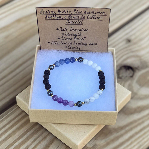 Extra Healing: Diffuser; Hematite, Amethyst, Blue Aventurine, Howlite Super Energy Bracelet! Stretch, authentic stones and crystals