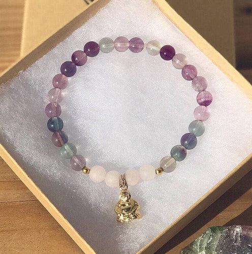 Concentration, Positivity, Decision Making, Heart healing- Gold Plated Buddha charm bracelet - Fluorite & Rose quartz!