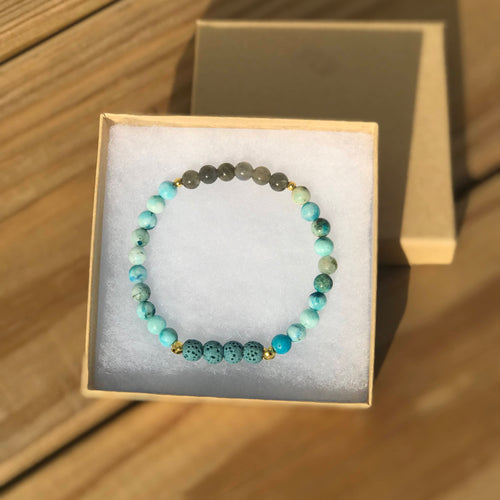 Emotional Repair: Rare Hemimorphite & Labradorite Diffuser Bracelet with blue lava rock, stretch adjustable