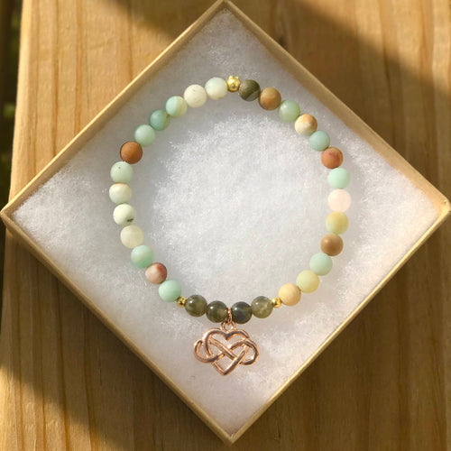 Courage & Change: Healing Infinity Heart Charm Bracelet with Amazonite and Labradorite, Earth tone