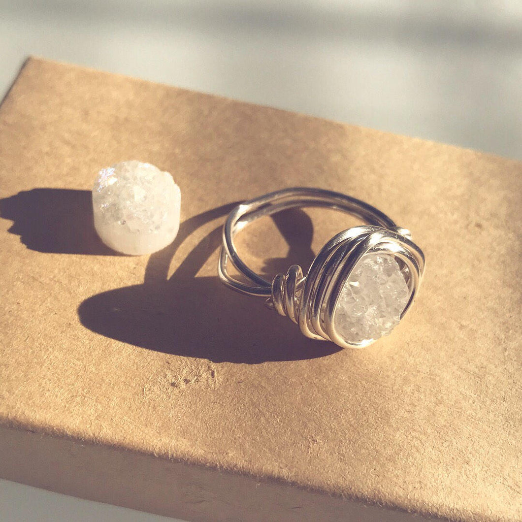 Druzy * Clear Quartz Ring Silver *  - Handcrafted jewelry for Clarity, Energy Cleansing, Raise vibration, healing crystals, healing gifts