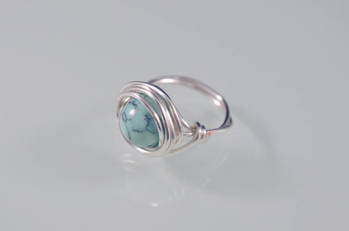 Find Deep Peace - Healing Teal Magnesite Stone Silver Wire Wrapped Ring * Healing rings* Healing Jewelry * Anxiety Relief * Healing gifts