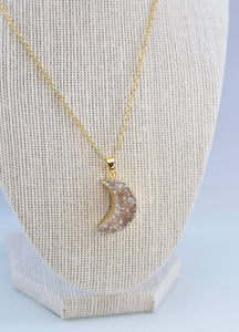 Gold Plated Moon Energy Druzy Pendant Necklace! Celebrate Moon Energy!